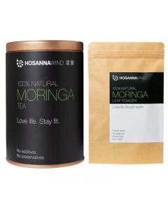 HosannaWind,Moringa Kit,100% Natural Moringa tea 150g,100%Natural Moringa Leaf Powder 50g, USDA, Euro-leaf