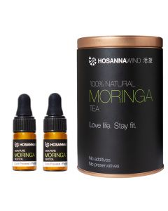 HosannaWind,Moringa Kit,100% Natural Moringa tea 150g,100%Pure Moringa Seed Oil 3ml,2 bottles, USDA, Euro-leaf